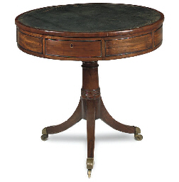 A SMALL REGENCY MAHOGANY DRUM