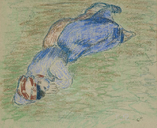 Paysanne couchée dans l'herbe