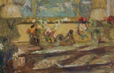 Fleurs sur une console