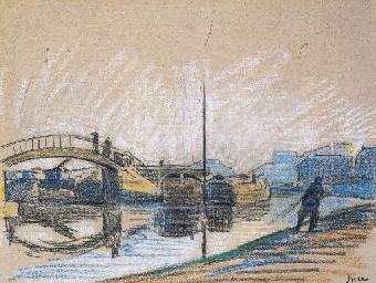 Bord de rivière près d'un pont