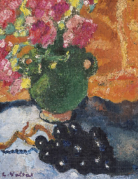 Pot vert, fleurs roses et rais