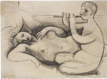 Femme allongée, joueur de flût