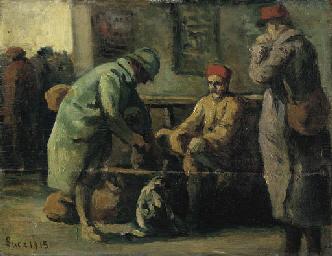 Les trois soldats à la gare