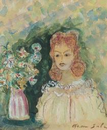 Jeune fille au vase de fleurs