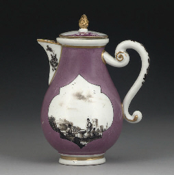 A MEISSEN PURPLE-GROUND HOT-MI
