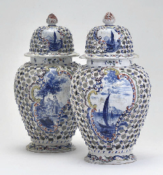 A PAIR OF DELFTWARE RETICULATE