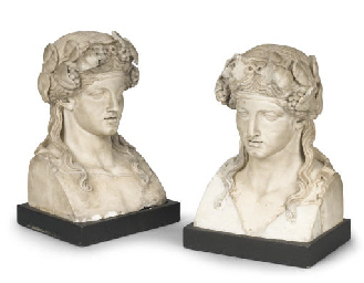 A PAIR OF CARVED MARBLE HERM B