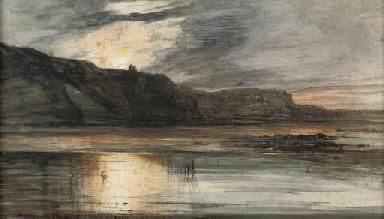 Sunset over a lake, a castle i