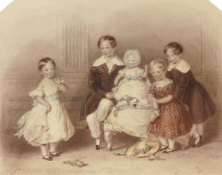 A group portrait of five child
