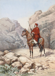 An Arab warrior on horseback i