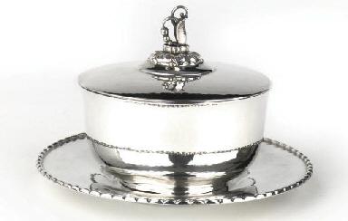 A Danish silver caviar dish wi