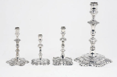 A George II silver candlestick