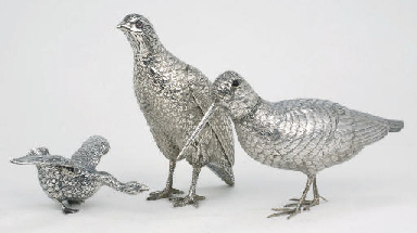 Three various silver birds