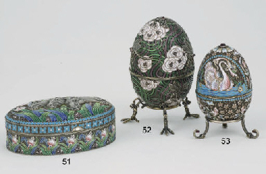 A Russian silver-gilt egg-shap