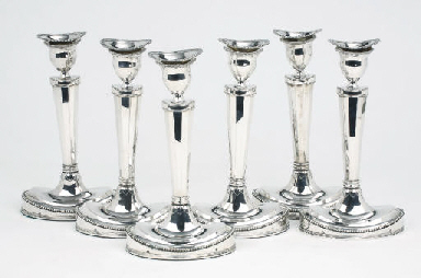 A set of six Dutch silver cand