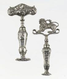 Two dutch silver corkscrews