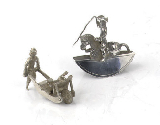 Two dutch silver miniature toy