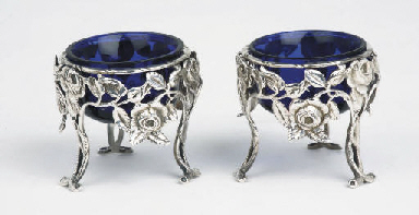 A pair of silver salt-cellars