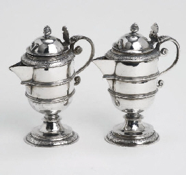 A pair of Dutch silver ampulla