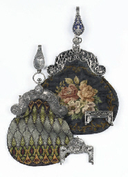 Two dutch silver bag-mounts wi