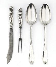 A dutch silver pair of vegetab