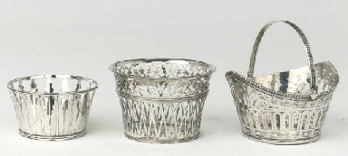 Three Dutch silver sewing bask