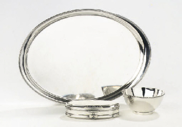 A dutch silver bowl, tray and