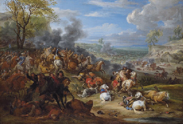 French troops in battle in an