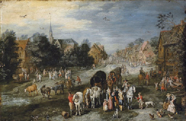 A village landscape with a ker