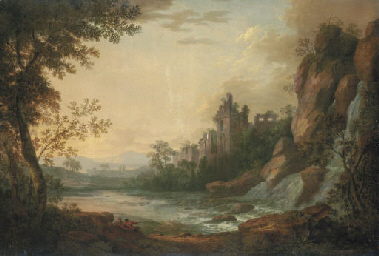 A river landscape with travell
