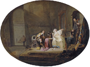 A card game in a courtyard