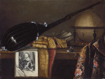 A globe, lute and print of Fre