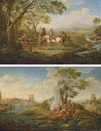 A river landscape with huntsme