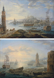 A busy port with three-masters