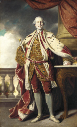Portrait of James Hay (1726-1778), 15th Earl of Erroll, full-length, in Coronation robes, holding the baton of the Lord High Constable of Scotland, a tree and a balustrade beyond