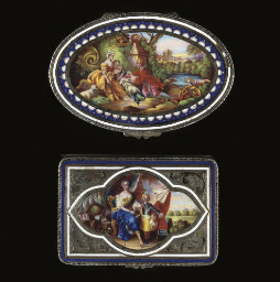 A silver and enamel snuff box