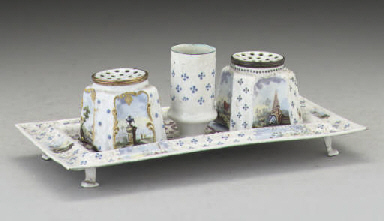 AN ENAMEL PAINTED INKSTAND