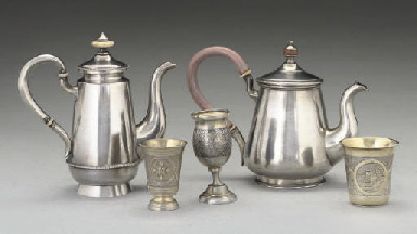 A Russian silver coffee pot