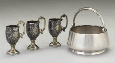 Three Russian silver-gilt and