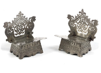 A pair of Russian silver salt