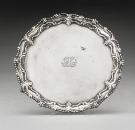 A GEORGE III SILVER SALVER,