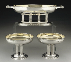 A GERMAN SILVER 3-PIECE TABLE