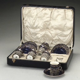 A cased set of six silver porc