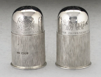 A PAIR OF MODERN SILVER BUN-TO