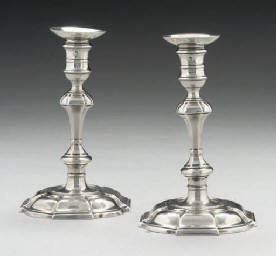 A PAIR OF GEORGE III CAST SILV