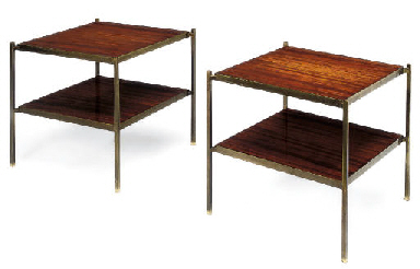 A PAIR OF MAHOGANY AND BRASS T