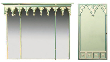 A GOTHIC MIRROR AND A SET OF E
