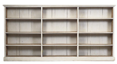 A LARGE PAINTED OPEN BOOKCASE