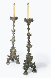 A PAIR OF ITALIAN SILVERED GES
