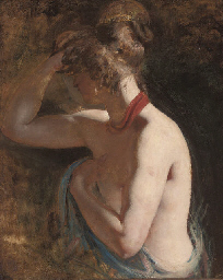 Study of a female nude, half-l